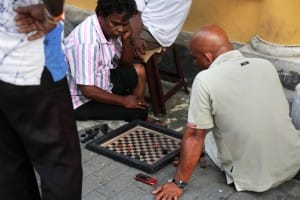 Playing chess on the streets of Galle