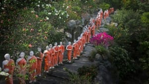 Monks lined up at Dambulla Cave Temple