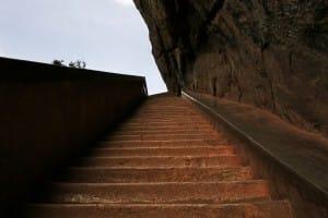 Staircase at Sigirya ancient rock fortress