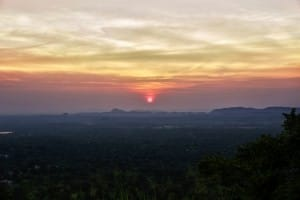 Sunrise at Sigirya ancient rock fortress