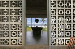 Open air dining room with ocean view