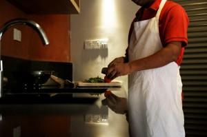 Cook preparing a fresh meal
