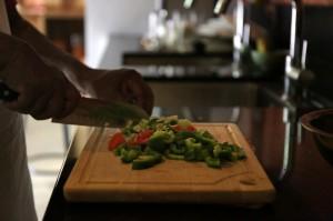 Fresh ingredients being chopped