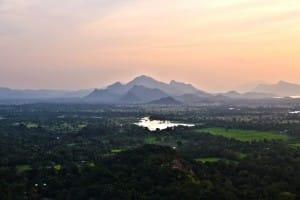 Sunset at Sigirya ancient rock fortress