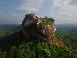 Aerial landscape around Sigirya ancient rock fortress